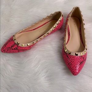 Pink Snakeskin Studded Pointed Toe Ballet Flats